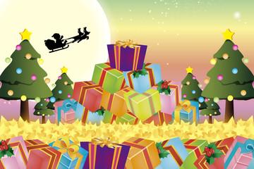 背景素材壁紙,クリスマスツリー,プレゼント,イルミネーション,オーナメント,冬,装飾,デコレーション
