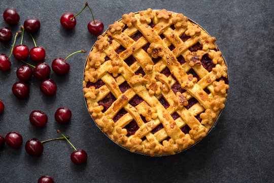 homemade cherry pie on the table .