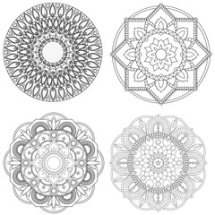 Set of mandalas for coloring book. Decorative round ornaments. A