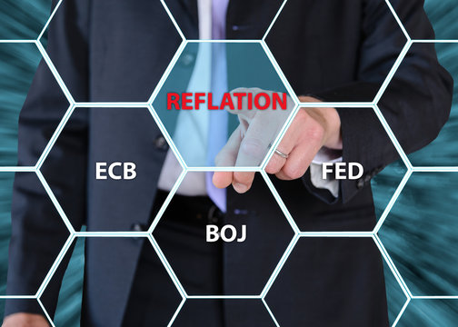 businessman pushing central banks concept