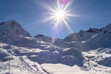 Skiing and Snowboarding in the winterly Stubai Alps