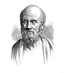 Hippocrates of Kos greek physician, vintage engraving
