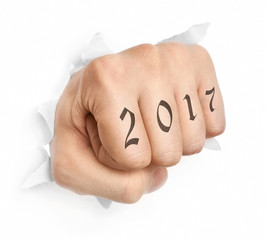 Hand with 2017 tattoo