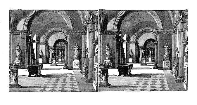 Reproduction of a stereoscopic image, vintage engraving