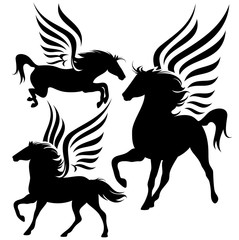pegasus silhouette set black and white vector design