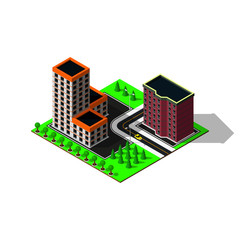 Isometric city map. 3d buildings. Isometric game pieces.