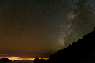 Stars and Milky Way Galaxy  above Volcan De Taburiente