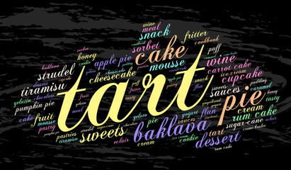 Tart. Word cloud, grunge background. Food concept.