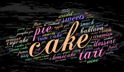 Cake. Word cloud, grunge background. Food concept.