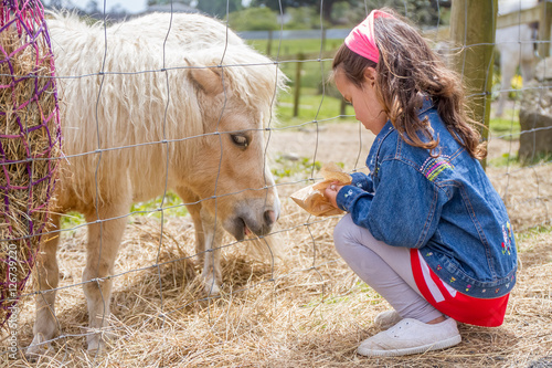 outdoor portrait of young happy smiling girl feeding pony horse