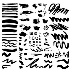 Vector set of black brush strokes. Editable isolated elements.