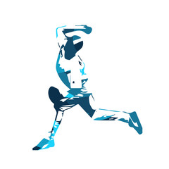 Baseball player, blue vector illustration