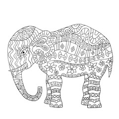 Hand drawn elephant coloring page.