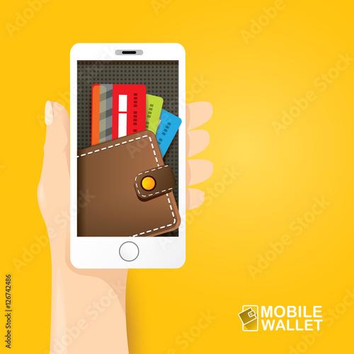 """""""vector digital mobile e wallet vector concept"""" Stock ..."""