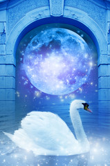 Wall Mural - a swan with mystical gate and moon like a spiritual concept of dreams
