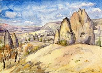 mountainous landscape. Cappadocia. Watercolor painting
