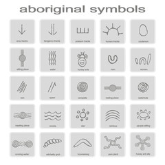 Fototapeta set of monochrome icons with symbols of Australian aboriginal art for your design obraz