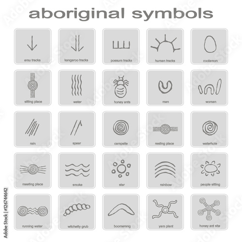 Set Of Monochrome Icons With Symbols Of Australian Aboriginal Art