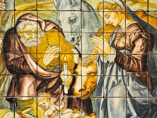 Birth of Jesus, Portuguese tile, Lisbon
