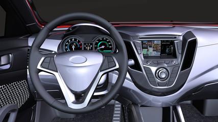 Innenansicht mit Armaturenbrett in einem modernen Elektroauto