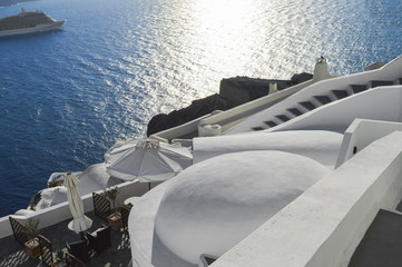 Sea view from stairs on the Greek island of Santorini II