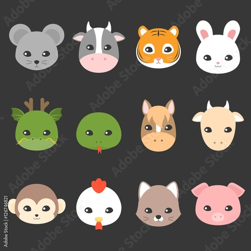 """""""Cute Cartoon Chinese Zodiac Icon, Face Of Rat, Cow, Tiger"""