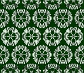 outline floral on sacred geometry pattern. green background. vector illustration.