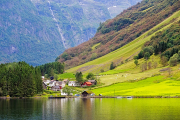 Small village at the banks of the Aurlandsfjord in Norway