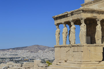 Temple of Athena and blue sky on the hill of the Acropolis of Athens in Greece