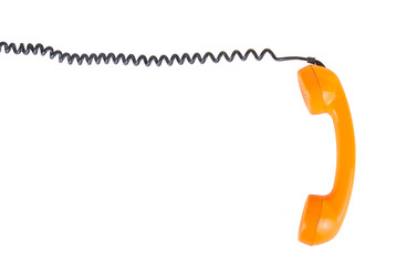 Orange handset on a white background