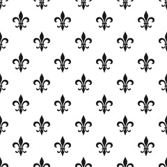 Golden fleur-de-lis seamless pattern. Vector illustration. Black white template. Floral texture. Elegant decoration, royal lily retro background. Design vintage for card, wallpaper, wrapping, textile.
