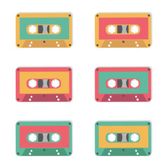 Audio tapes of different colours. Technology 80s. Vector illustration.