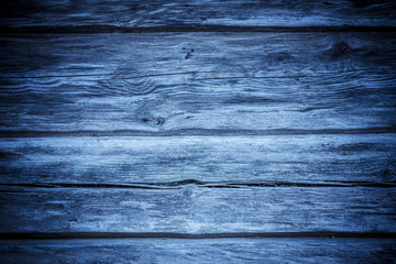 Empty wooden wall. Dark blue wood panel background. Hardwood planks with nice grunge texture and copy space.