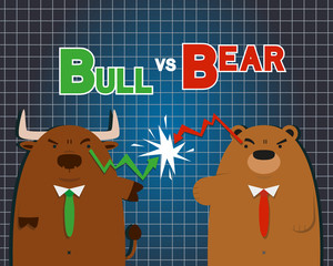 cute big bull bear cartoon versus in stock market on dark blue table background