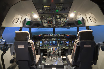 Cockpit of plane in flight simulator