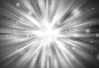 Black and white glitter sparkle defocused radial rays lights bokeh beautiful abstract background.