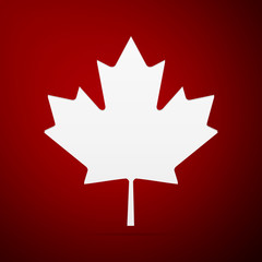 Canadian Maple Leaf flat icon on red background. Vector Illustration