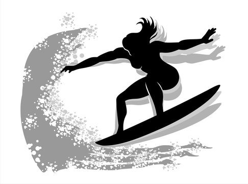 Woman surfing Silhouette