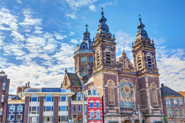 Basilica of St. Nicholas in Amsterdam, Netherlands, HDR Image.