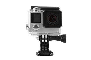 Action camera isolated on a white background.