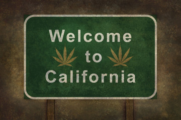 Welcome to California with marijuana leaf symbol roadside sign