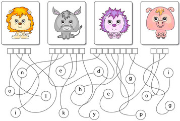 Educational puzzle game. Find the hidden words