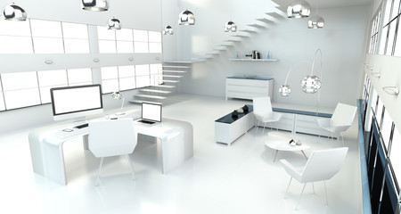 Modern white office interior with computer and devices 3D render