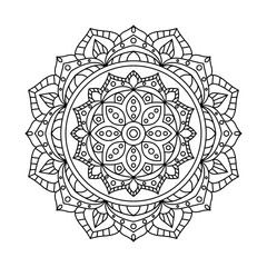 Round Indian Ornament / Hand Drawn Mandala