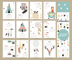 Colorful cute monthly calendar 2017 with tent,whale,feather,arro