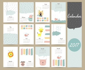 Colorful cute monthly calendar 2017 with bear,giraffe,lion,whale