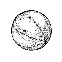 Basketball drawing in retro style. Doodle sport icon on white background. Basketball hand-drawn sketches in monochrome.