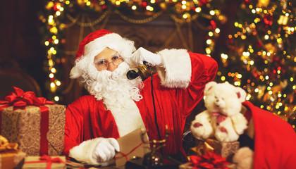 sad upset santa claus talking on phone