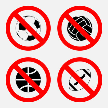 prohibition sign sports game, no play,  basketball, football