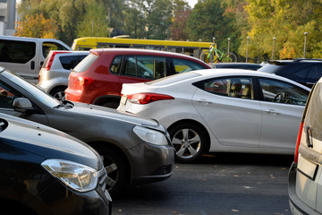 Cars are stuck in a traffic jam on the city road in Kyiv, Ukraine.